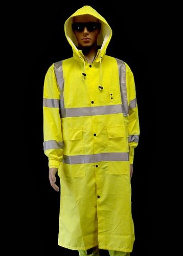 "LIME PU/ANSI CL 3 RAINCOAT  49""   3M REFLECTIVE"