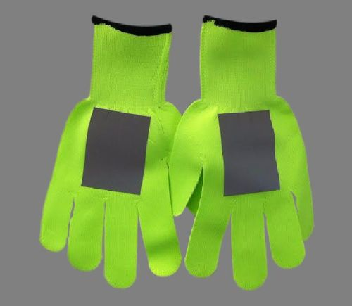 Ameri-Viz LIME STRETCH KNIT GLOVE  W/REFLECTIVE PATCH ON EACH GLOVE