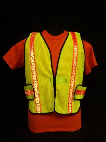 Ameri-Viz LIME YELLOW  SOFT MESH VEST/ORANGE REFLECTIVE