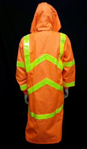 PU ORANGE REFLECTIVE RAINCOAT W/HOOD