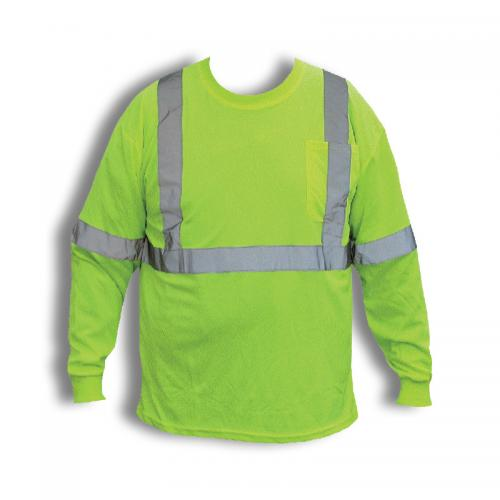CLASS II LONG SLEEVE SHIRT LIME W/REFLECTIVE STRIPES AND  POCKET 3XL