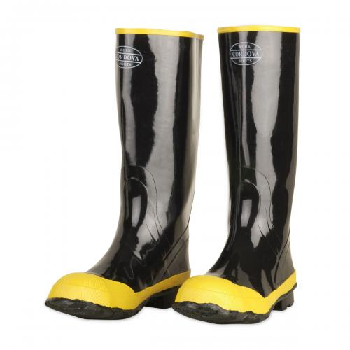 "CORDOVA 16"" BLACK RUBBER BOOT/STEELTOE/COTTON LINED 6"
