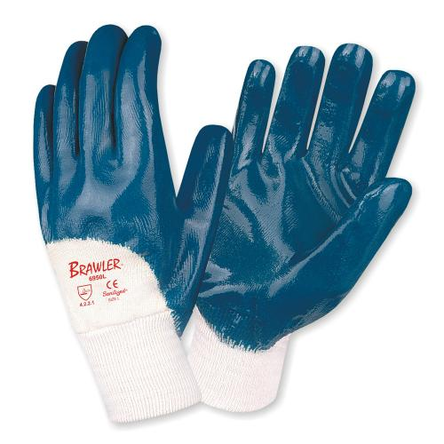 CORDOVA BRAWLER™ PREMIUM DIPPED NITRILE, PALM COATED, JERSEY LINED, KNIT WRIST, SANITIZED®