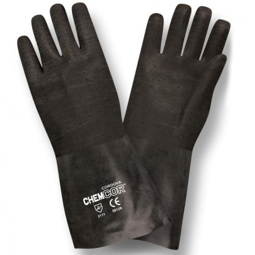 CORDOVA CHEM-COR BLACK SUPPORTED NEOPRENE, ROUGH FINIS 12