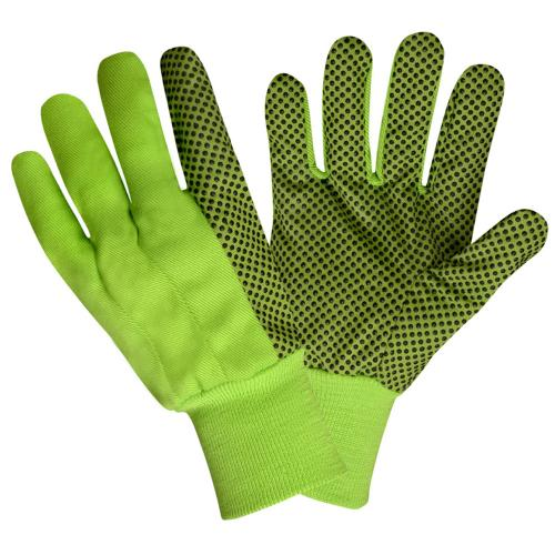 CORDOVA HIGH VIS LIME CANVAS GLOVE, BLACK PVC DOT, LARGE