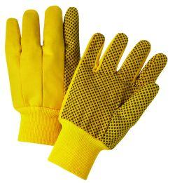 CORDOVA HIGH VIS YELO CANVAS GLOVE, BLACK PVC DOT, LARGE