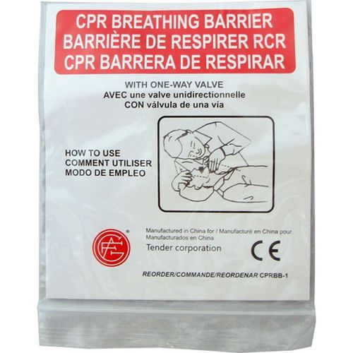 Genuine First Aid CPR Face Shield w/one way valve 100 PER CASE