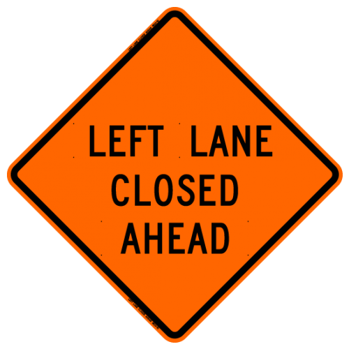 MTS SAFETY 48 LEFT LANE CLOSED AHEAD W/RIBS VINYL