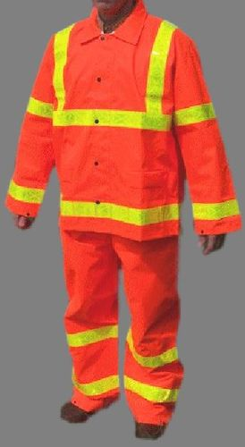 PU ORANGE REFLECTIVE RAINSUIT/2-PC