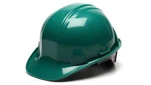 Pyramex 4PT PLASTIC STD SUSP HARD HAT-GREEN-NO IMPRINT