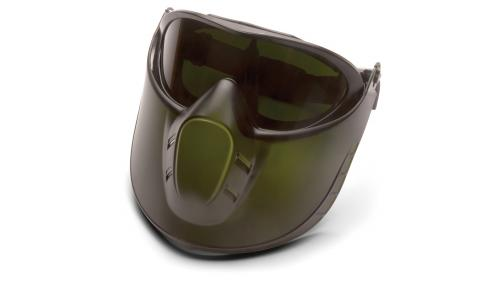 Pyramex CAPSTONE GREEN TINTED FACE SHIELD WITH IR5 ANTI-FO