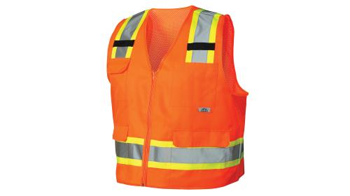 Pyramex RVZ24 SERIES CLASS 2 HI-VIS ORANGE SAFETY VEST MED